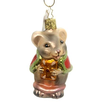 Inge Glas CHRISTMAS MOUSE Glass Rodant Ornament 100516
