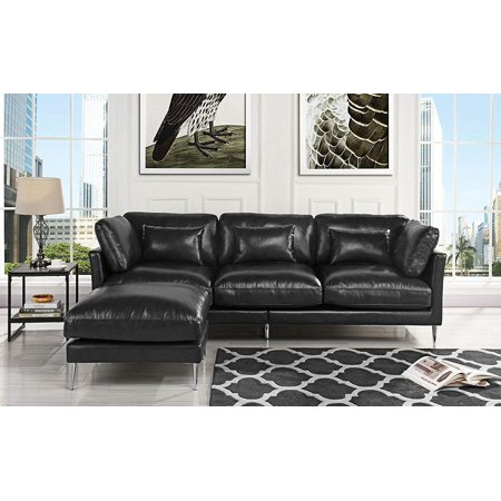 Terrific Modern Leather Sectional Sofa L Shape Couch Black Inzonedesignstudio Interior Chair Design Inzonedesignstudiocom