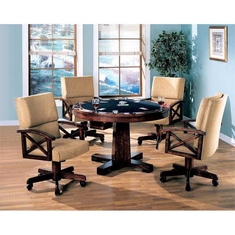 Coaster Marietta 5 Piece 3-in-1 Game Table Set in Dark Oak by Coaster Home