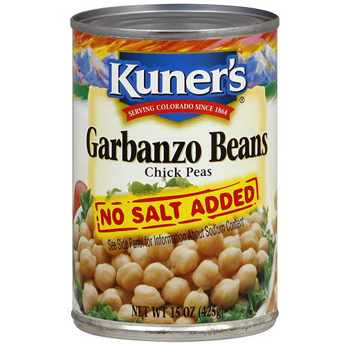 Kuner's No Salt Added Garbanzo Beans, 15 oz (Pack of 12)