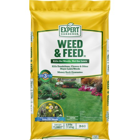 Expert Gardener Weed & Feed Lawn Fertilizer 28-0-3, 39 Pounds Covers up to 15,000 Square Feet
