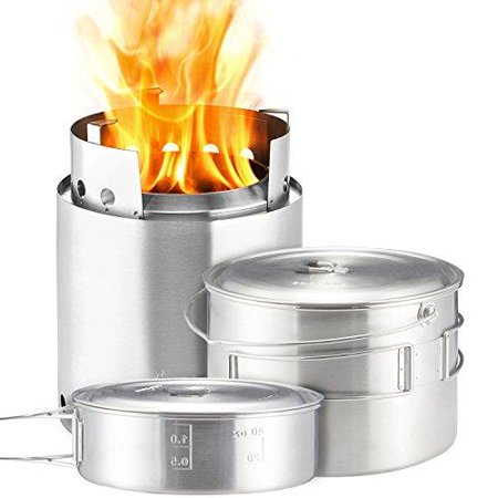 - Solo Stove Campfire & 2 Pot Set Combo Compact Wood Burning Rocket Camping