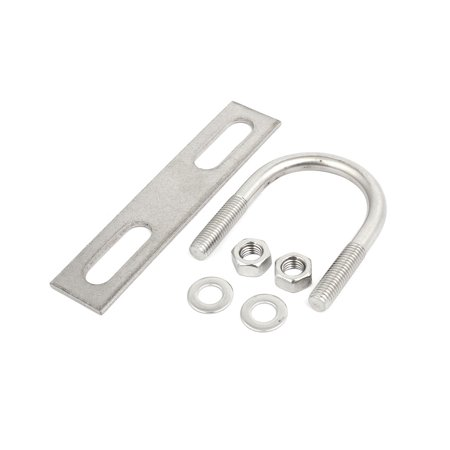 2pcs M10x45mm 304 Stainless Steel Round U-Bolt w Plate and