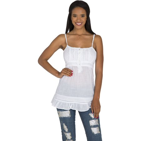 Cotton Empire Waist Chemise - s&p junior women white cotton pintuck & ruffle empire waist tank top