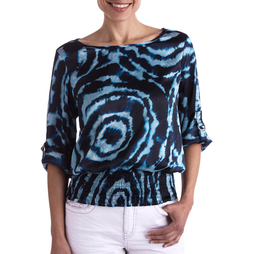 Brooke Leigh Women's Banded Waist Printed Blouse