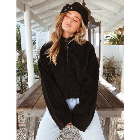 Fashion Women Cropped Fluffy Hoodies Fleeces Turtleneck Zipper Solid Color Oversized Teddy Jumper