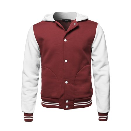 FashionOutfit Men's Casual Baseball Fleece Hooded Varsity Jacket - All Time Low Varsity Jacket