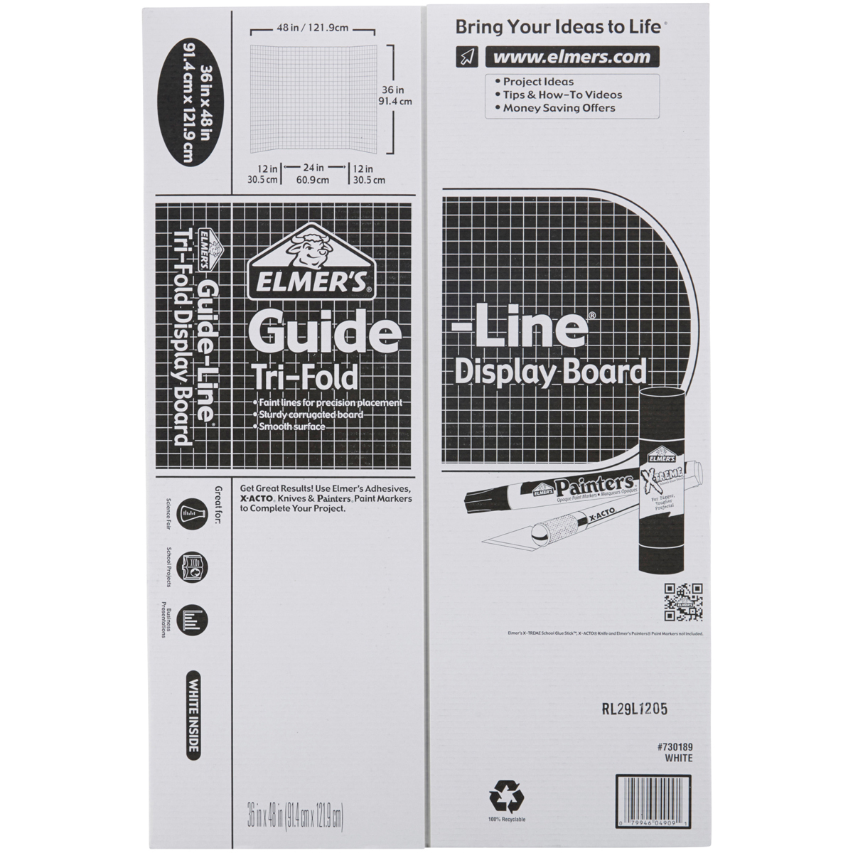 "Elmer's Tri-Board Self-Standing Project Display Board 36""X48-White W/Guidelines Box=18, SRP $7.39ea"
