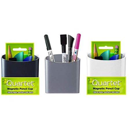Quartet Magnetic Pencil/Pen Cup Holder, 1 of each Black, Gray and White, 3 Pack - Magnetic Desktop Pen