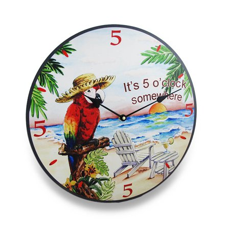 Its Five O Clock Somewhere Tropical Parrot Wall Clock 15