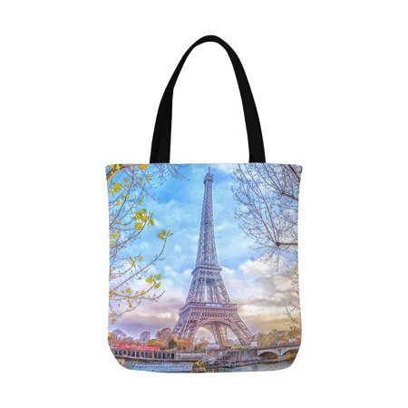 HATIART Romantic Eiffel Tower in Paris France Canvas Tote Bag Tote Shopping Bag Washable Grocery Tote Bag, Craft Canvas Bag for Women Men Kids - image 1 of 3