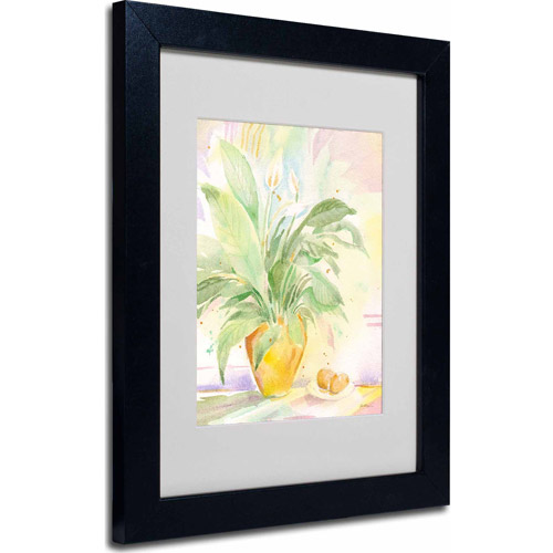 "Trademark Fine Art ""The Peace Lily"" Matted Framed Art by Sheila Golden, Black Frame"