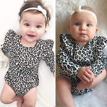 Casual Leopard Baby Girls Cotton Romper Jumpsuit Bodysuit Outfits Clothes 0-24 M New 1PCS