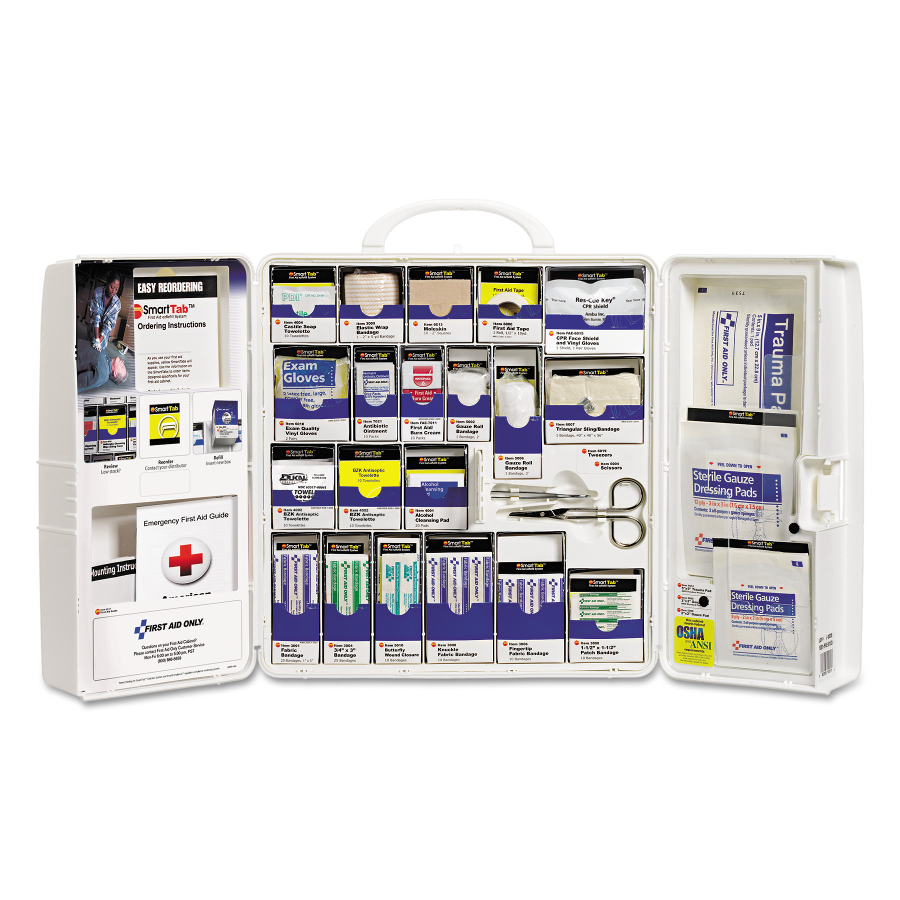 First Aid Only 50 Person Large SmartCompliance Plastic Cabinet w/o Medications, 206 Pc