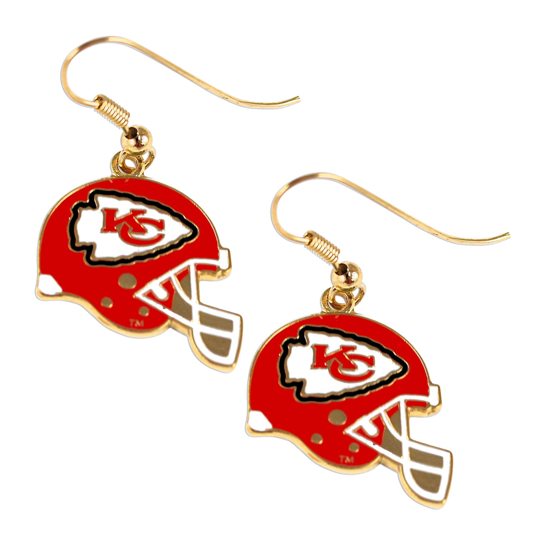 Kansas City Chiefs Sports Team Logo Helmet Shaped J-Hook Gold Tone Earring Set Charm Gift
