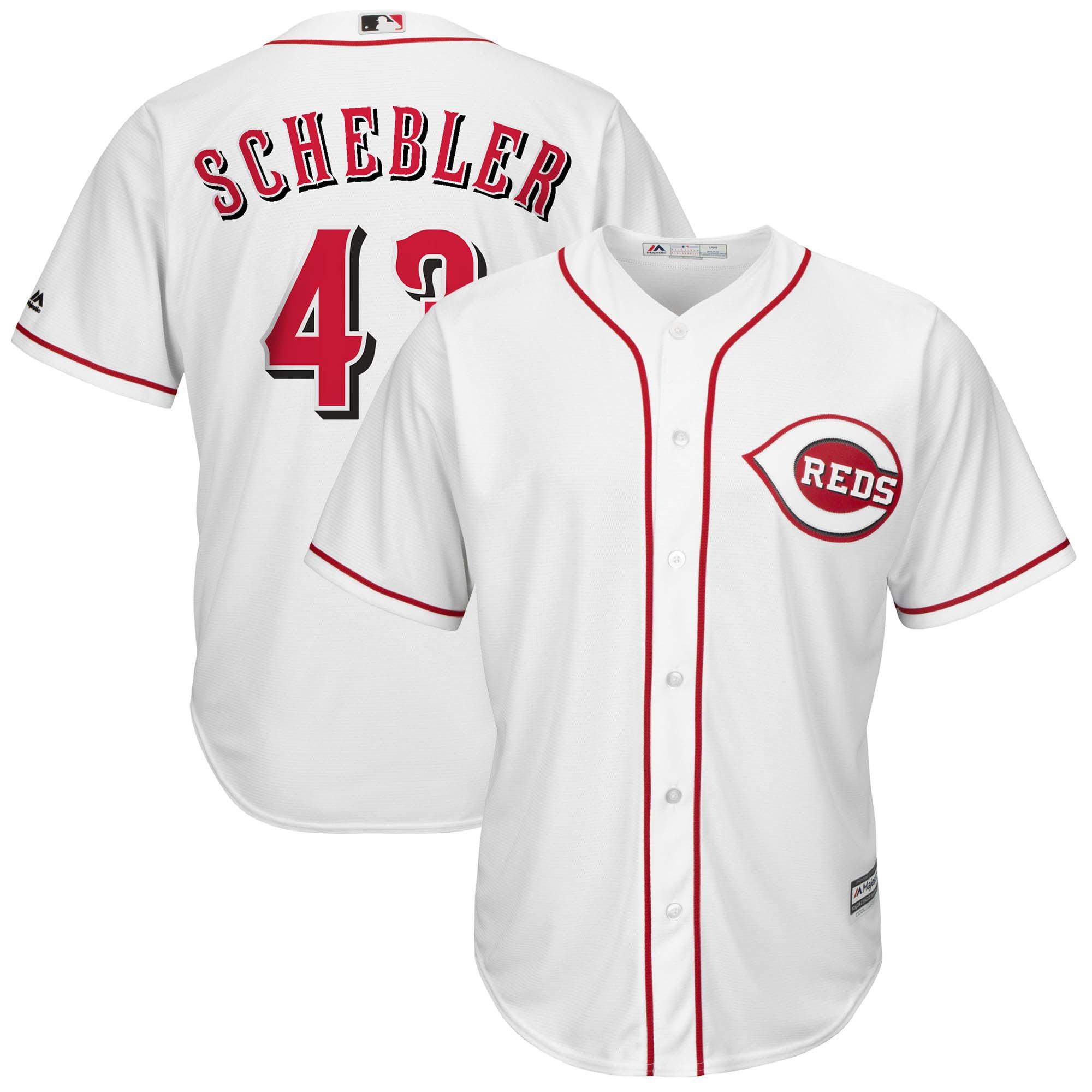 Scott Schebler Cincinnati Reds Majestic Home Cool Base Replica Player Jersey - White