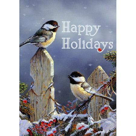 LPG Greetings Sunny Chickadees in Winter Box of 18 Bird Christmas Cards ()