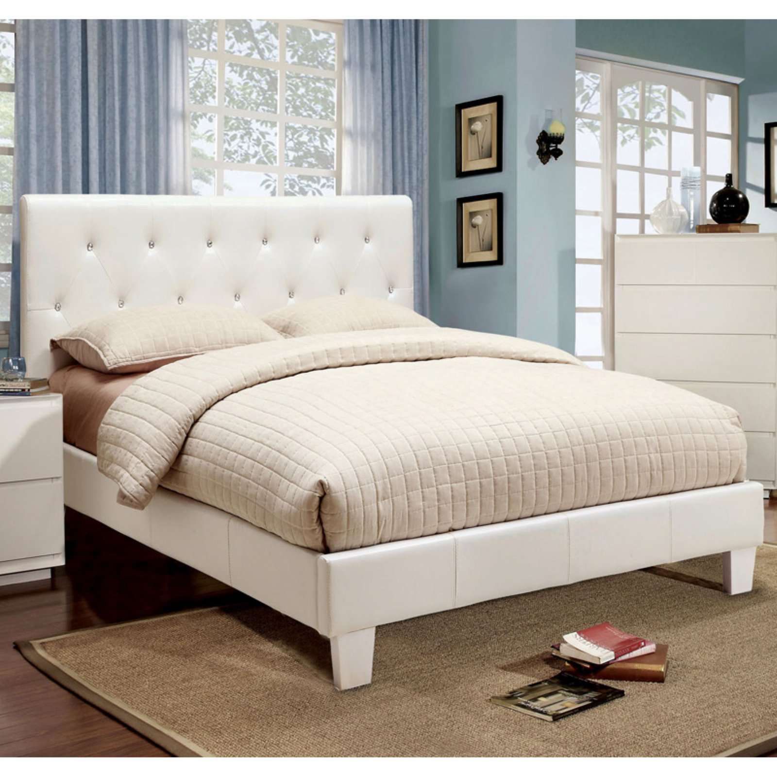 Furniture of America Avara Rhinestone Tufted Platform Bed by Enitial Lab
