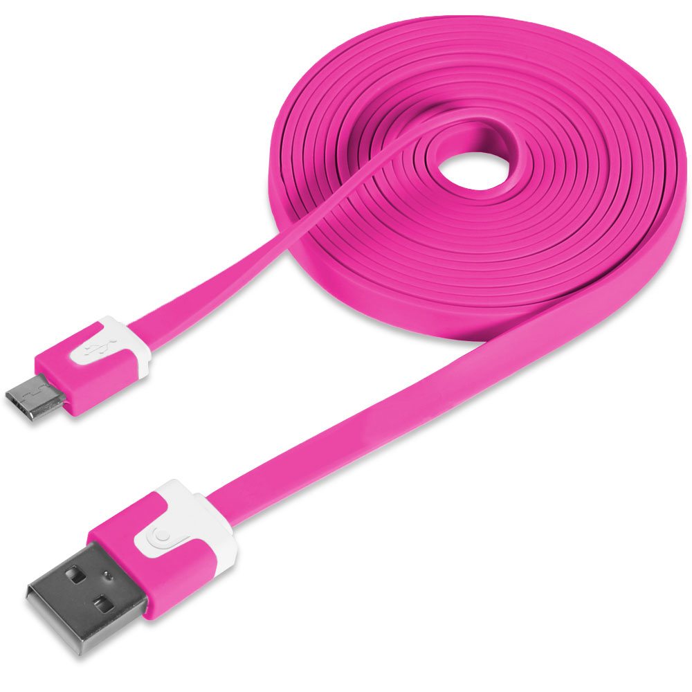 Micro USB Flat Cable 6FT, Fosmon Vivid Sync Charge Data Cable for Galaxy S7/S7 Edge, S6, Moto G5/G5 Plus, Nokia 3/5/6, HTC, LG, Android Smartphone and More - Hot Pink