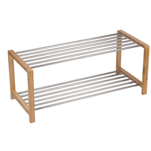 Household Essentials Bamboo and Steel Large Shoe Rack