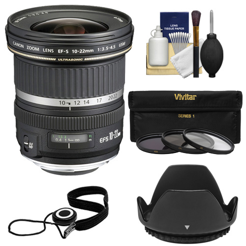 Canon EF-S 10-22mm f/3.5-4.5 USM Ultra Wide Angle Zoom Lens with 3 UV/FLD/CPL Filters   Hood Kit for EOS 70D, 7D, Rebel T5, T5i, T6i, T6s, SL1 Camera
