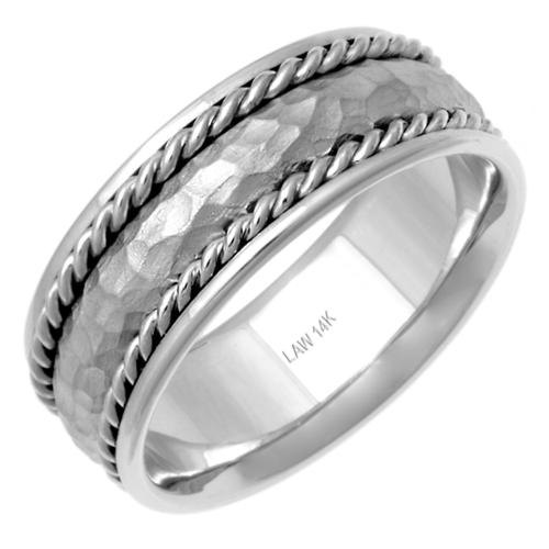 14k White Gold Men's Hammered Comfort-Fit Handmade Wedding Band Size 10