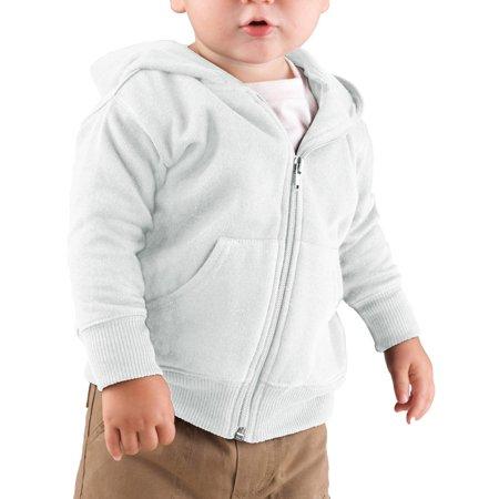 Rabbit Skins 3446 Baby Fleece Hooded Sweatshirt - White - 12 -