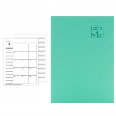 AkoaDa 2020 Year Calendar Monthly Planner Months Diary Leather Notebook Personal Agenda Planner Organizer Business Office Stationery ()