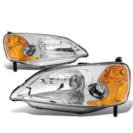 For 2001 to 2003 Honda Civic OE Style Headlight Chrome Housing Amber Corner Headlamp EM ES 02 Left+Right 02 Honda Civic Headlight