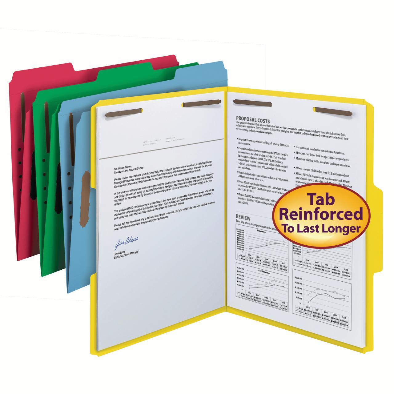 Smead Fastener Folders, 1/3 Tab, Assorted Colors, Letter, 50/Box