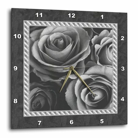 10 Inch Rally Stripes - 3dRose Pewter gray roses surrounded by a striped and marbelized frame, Wall Clock, 10 by 10-inch
