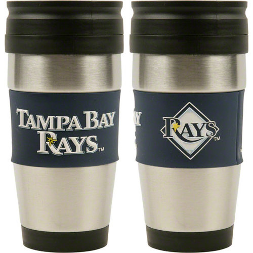 MLB Tampa Bay Rays 15-Ounce Stainless Steel Travel Tumbler with 3D Logo Wrap