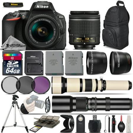 Nikon D5600 DSLR Camera + 18-55 AF P VR Lens + 650-1300mm Lens +500mm -5Lens Kit