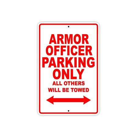 Armor Officer Parking Only Gift Decor Novelty Garage Metal Aluminum 8