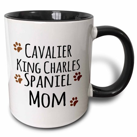 Have Paws Mugs - 3dRose Cavalier King Charles Spaniel Dog Mom - Doggie by breed - brown muddy paw prints - doggy lover owner - Two Tone Black Mug, 11-ounce