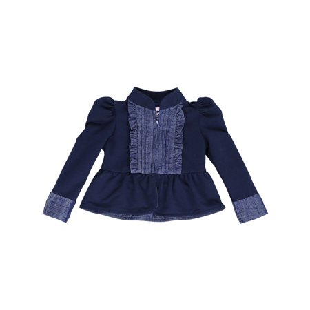 French Terry Knit Kiss of Joy Zip-Up Classic Bolero Jacket for Toddlers and Girls (Navy Blue, 2T) (Girls Navy Blue Peacoat)