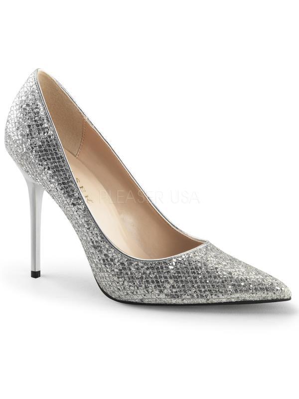 "Slv Glittery Lame Fabric Pleaser Single Soles 4"" Heel Size: 11"
