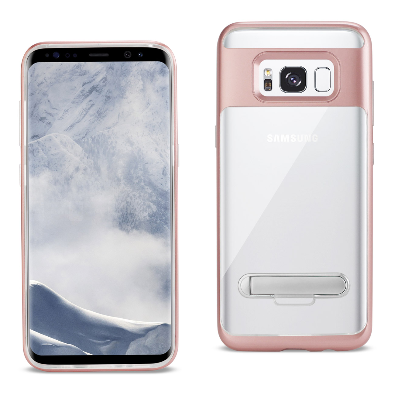 REIKO SAMSUNG GALAXY S8 EDGE/ S8 PLUS TRANSPRANT BUMPER CASE WITH KICKSTAND IN CLEAR ROSE GOLD