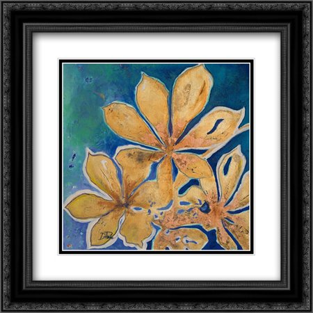 Fiori d Oro I 2x Matted 20x20 Black Ornate Framed Art Print by Pinto,