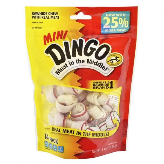 14-Pack: Dingo Mini Original Rawhide Meat Chew Bone Pet Dog Treats by GearXS