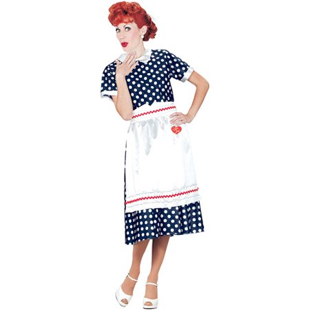 I Love Lucy Polka Dot Dress Adult Halloween Costume - Peanuts Lucy Costume