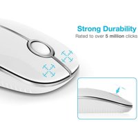Wireless Mouse, 2.4G Slim Silent Travel Cordless Mouse Optical Mice with Nano USB Receiver for Laptop Computer PC MacBook and Notebook- White and Silver