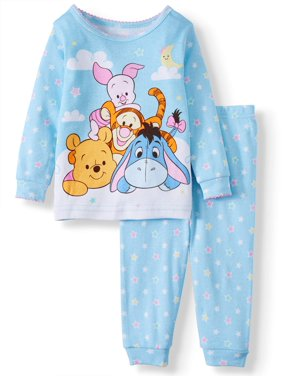 Winnie The Pooh Baby Girl Long Sleeve Cotton Tight Fit Pajamas, 2-piece set