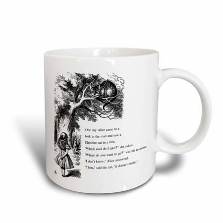 3dRose Which road do I take Cheshire cat Alice in Wonderland - John Tenniel, Ceramic Mug, 11-ounce](Alice In Wonderland Cheshire Cat)