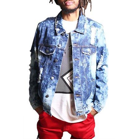 - Mens Destroy Denim Jacket Vintage Washed Hipster hip-hop Style Outerwear KNO5022-S-Dark Blue