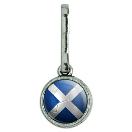Scotland Flag Soccer Ball Futbol Football Antiqued Charm Clothes Purse Backpack Zipper Pull
