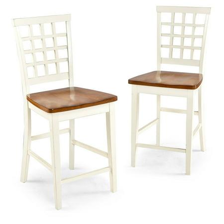 Imagio Home Arlington Lattice Back Counter Stools 24 Set Of 2 White And Java