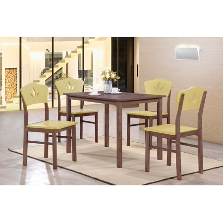 Lori 5 Piece Kitchen Dinette Retro Dining Set, Chocolate Wood, Contemporary, 43
