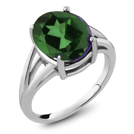 Oval Green Quartz Ring - 4.00 Ct Oval Green Mystic Quartz 925 Sterling Silver Ring