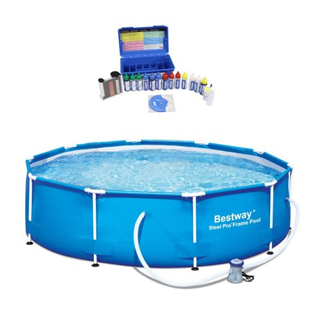 Bestway 10 Foot Steel Pro Family Swimming Pool w/ Taylor Pool Water Test